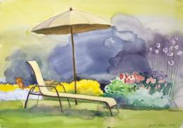 Päikesevarjuga aed