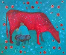 vanaema lüpsab lehma